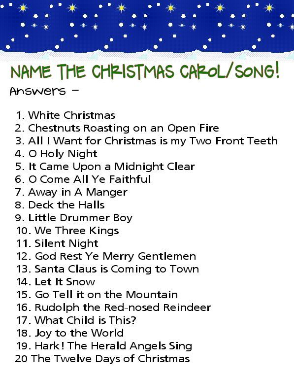 Christmas Carol Quiz Answers